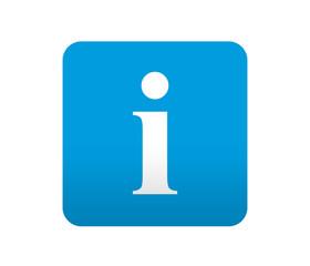 Etiqueta tipo app azul simbolo informacion