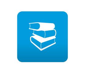 Etiqueta tipo app azul simbolo libreria