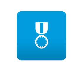 Etiqueta tipo app azul simbolo medalla
