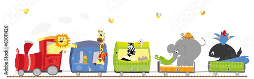 zoo train with animals on white background- vectors