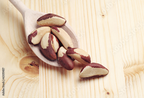 Brazil nuts in spoon