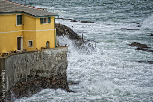 Sea Storm on Genova pictoresque boccadasse village