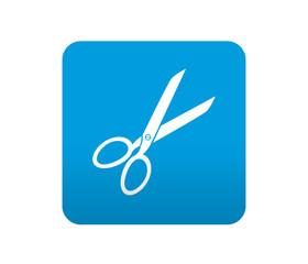Etiqueta tipo app azul simbolo tijeras