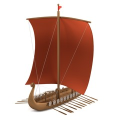realistic 3d render of viking ship
