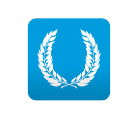 Etiqueta tipo app azul simbolo corona de laurel