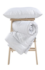 pillow and folded blanket on stepladder