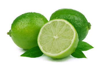 Ripe lime on white background