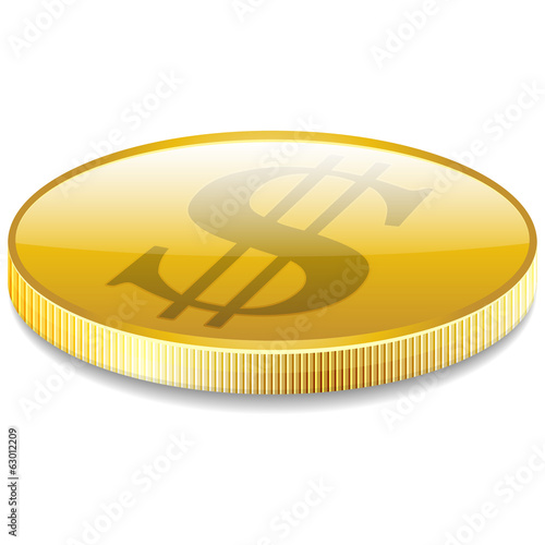 Dollars money coin in perspective vector