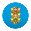 Etiqueta tipo app redonda azul semaforo