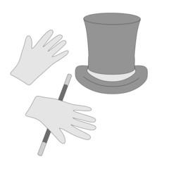 cartoon image of magician tools