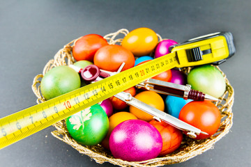 Decorated Easter eggs in a engineer woven basket