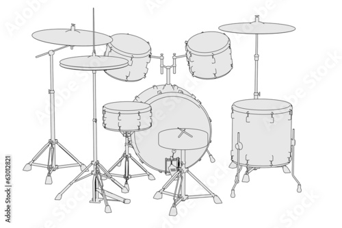 cartoon image of musical instruments - drum set