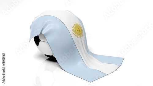 Classic soccer ball with flag of Argentina on it.