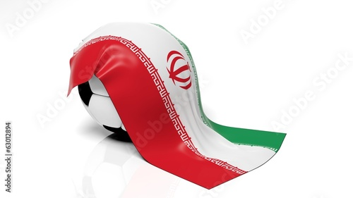 Classic soccer ball with flag of Iran on it.