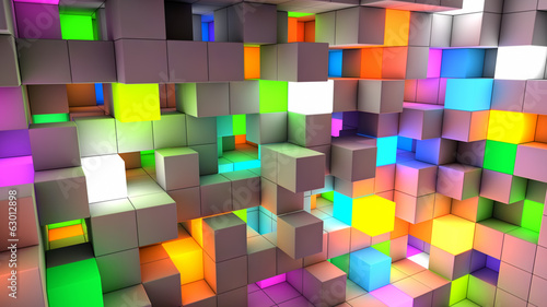 Abstract background color light cubes