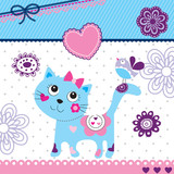 cute little cat and bird invitation card vector illustration