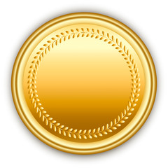 Round golden vector medal with pattern.