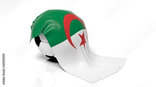 Classic soccer ball with flag of Algeria on it.