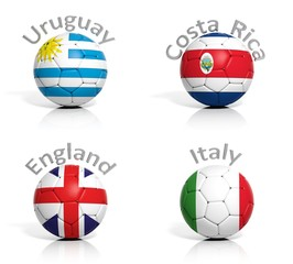 Group of soccer balls Uruguay,Costa Rica,England,Italy isolated