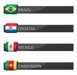 Group of empty score charts Brazil,Croatia,Mexico,Cameroon
