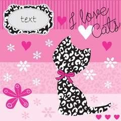 kitten pattern greeting card background vector illustration