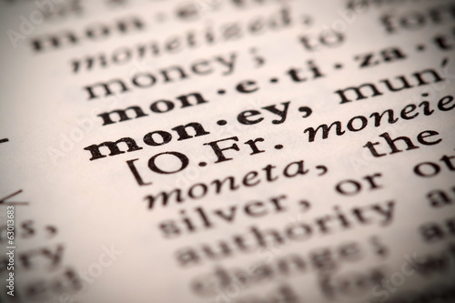 "The word ""Money"" in a dictionary"