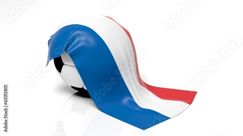 Classic soccer ball with flag of Netherlands on it.