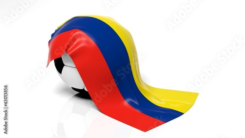 Classic soccer ball with flag of Colombia on it.