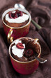 Raw vegan avocado chocolate mousse with cherries