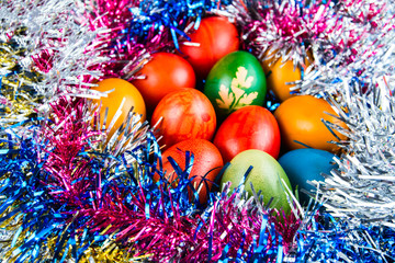 Decorated Easter eggs in a nest