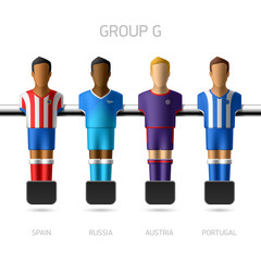 Table football, foosball players. Group G.