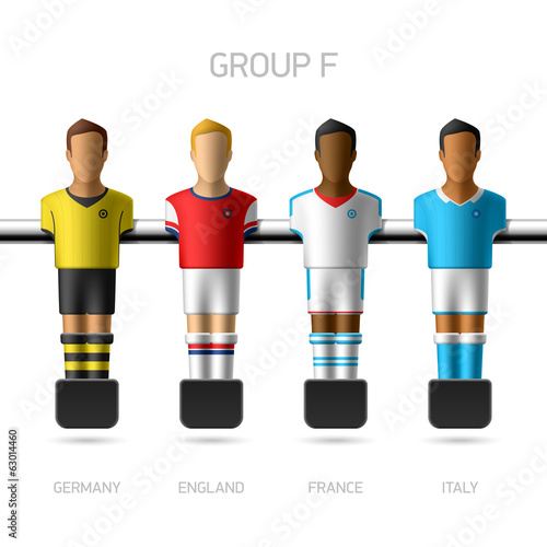 Table football, foosball players. Group F.
