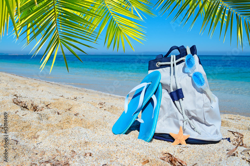 canvas print picture summer bag and palm