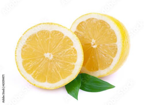 Ripe lemon on white