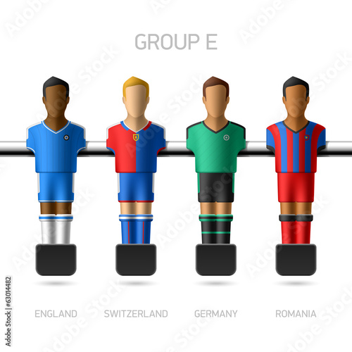 Table football, foosball players. Group E.