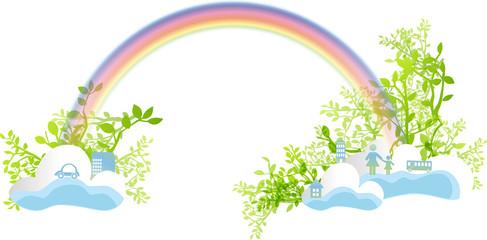 虹と緑と雲