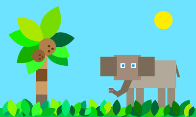 vector background elephant in the jungle