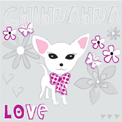 cute adorable chihuahua puppy dog vector illustration