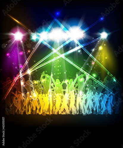 Abstract party sound background with dancing people