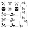Scissors with cut lines icons set