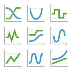 Digital and Analog Colorful Charts and Diagrams. Blue ang Green