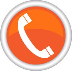 Круглый векторный знак с изображением телефонной трубки