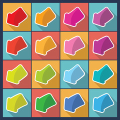Set of flat design arrows. Vector illustration.