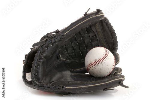Baseball Glove and Ball with Clipping Path