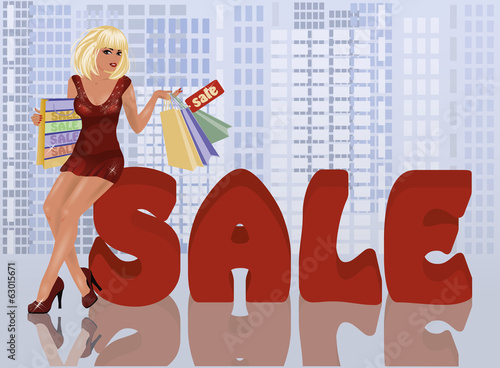 Shop woman with shopping bags, vector illustration
