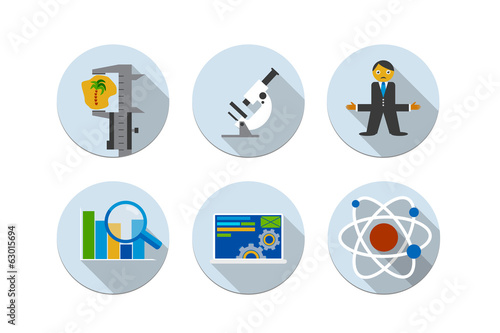 Flat design vector illustration six icons set of SEO