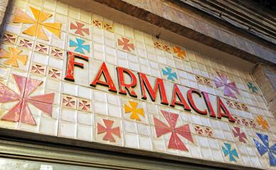 Rótulo de farmacia en cerámica
