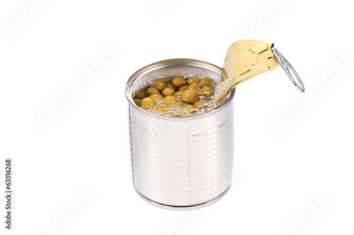 Tin can with green peas.