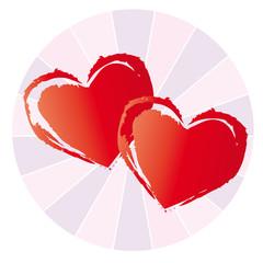 Zwei rote Herzen auf gestreiften Hintergrund