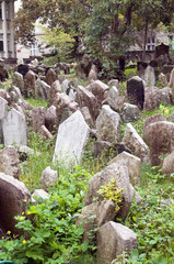 Old Jewish Cemetery in Jewish Quarter Prague Czech Republic cram